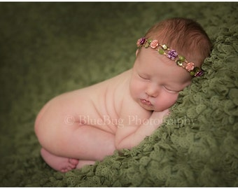 THE JOCELYN--Rose Flower Newborn Tieback Headband Photography Prop