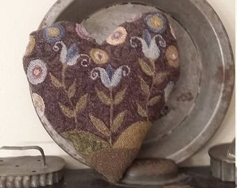 PATTERN ONLY - Needle punch Tulips and Pennies Heart NP4 2018