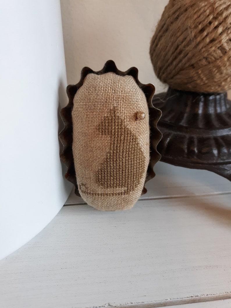 Primitive cross stitch Brown Cat oval mini fluted edge tin tart pinkeep folk art handmade