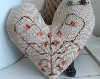 primitive cross stitch small Love Letters Heart primitive pillow pinkeep