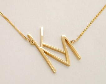 Sideways Monogram Necklace, Two Letters Necklace Gold, 14k Gold Initial Necklace Letters KM Two Initials Necklace Monogrammed