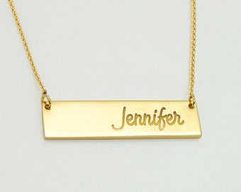 18K Bar Necklace, Solid 18K Gold Necklace, Gold Nameplate Necklace, Personalized Gold Bar Necklace, 18 k Solid Gold Bar Custom Name Plate