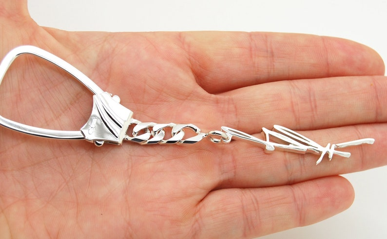Sympathy Gift Sterling Silver Keychain Key Ring Fob Personalized Custom Keychain for Him Handwritten Gift Engraved Keychain Key Chain
