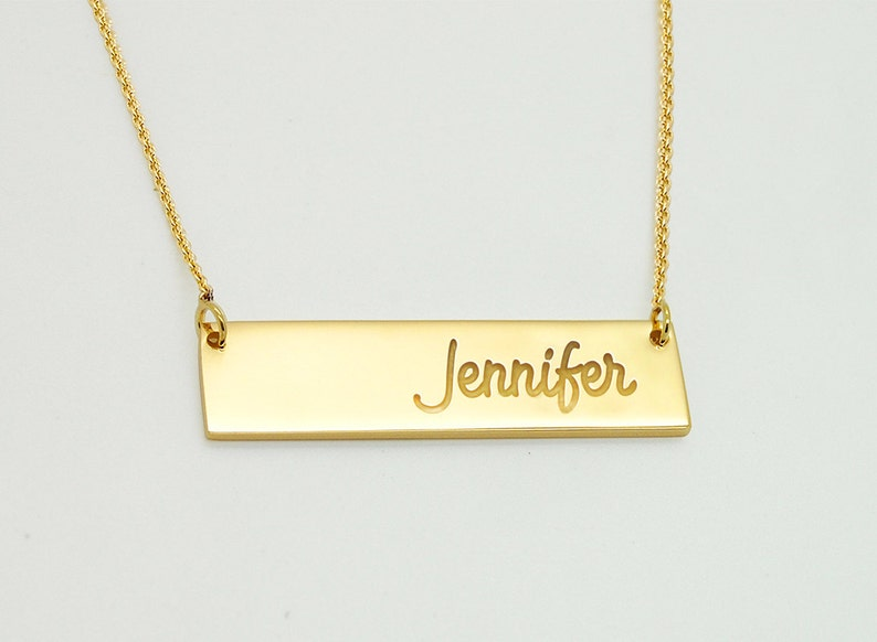 406e7123add4a 18K Bar Necklace, Solid 18K Gold Necklace, Gold Nameplate Necklace,  Personalized Gold Bar Necklace, 18 k Solid Gold Bar Custom Name Plate