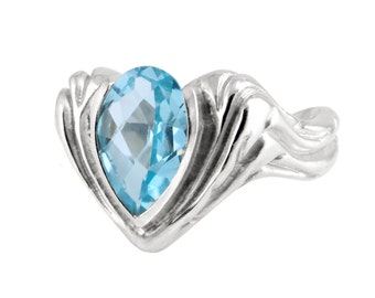 Blue Topaz ring, Water Drop ring, Dew Ring, Platinum Silver Ring, High End Jewelry