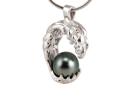 3004712c35f Tahitian Pearl Necklace, Tahitian Black Pearl Pendant Necklace, Sterling  Silver Statement Necklace