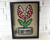 Super Mario Piranha Plant In Color - Nintendo NES Wall Art Shadow Box