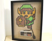 Legend of Zelda Link In Color - Nintendo NES Controller Wire Wall Art Shadow Box