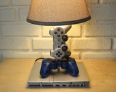 Playstation 2 Desk Lamp Rare Silver Console and Controller - PS2 Sculpture Light with Lamp Shade
