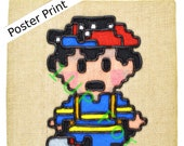 NES Nintendo Poster Print - Ness in Color from Earthbound - Video Game Art