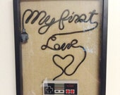 Nintendo NES Wall Art Shadow Box - My First Love Fancy Writing