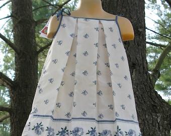 Dress Pillow Case  Blue Flowers with Blue Trim