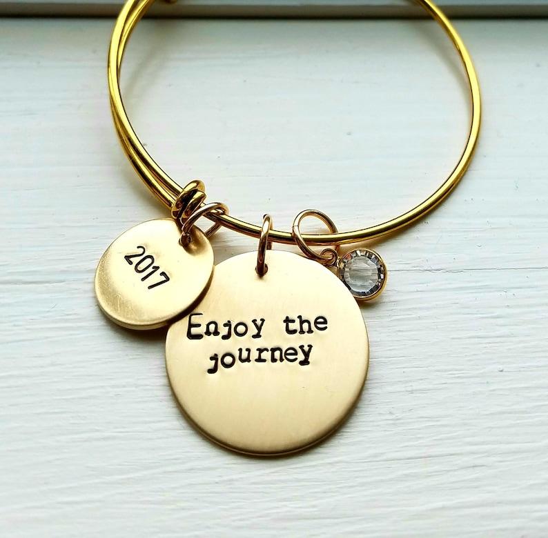 Birthday Gift Grad Gift Bangle Graduation Bracelet Retirement Bracelet ENjoy The Journey Enjoy The Journey Bracelet