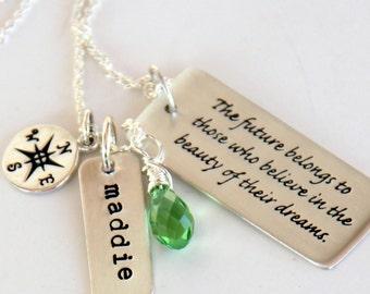 Graduation Necklace, Graduation Gift For Daughter, College Grad- Compass, Dream, Class of 2018, Future Quotes for Grads, Future, Believe