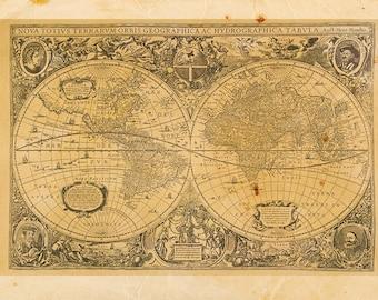 Vintage World Map Print 8x10 P46
