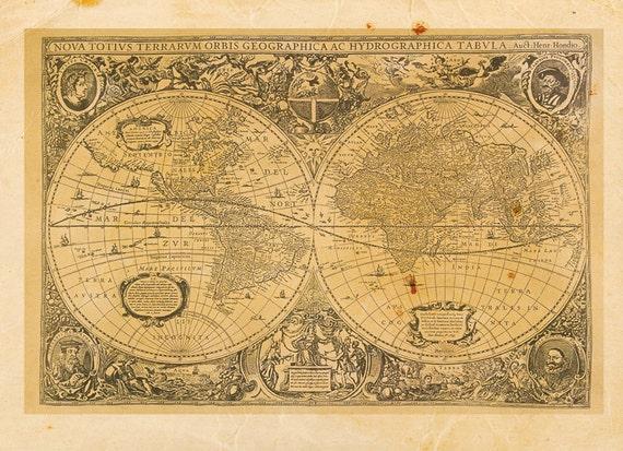 Vintage World Map Print 8x10 P46 | Etsy