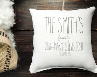 Personalized Family Ornament, Personalized Christmas ornament, Custom First Christmas ornament, Rustic Christmas, Linen Pillow, Family Name