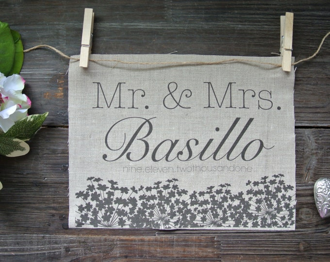 Personalized Print, Mr&Mrs, Wedding Print, Rustic wedding, Anniversary Print, Linen Print, 2nd Anniversary Gift, Wedding shower gift, Linen