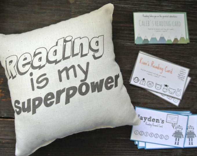 Reading Reward Pillow, Reading Pillow, Reading Quote Pillow, Book Pillow, Reading Reward Card, Teach Kids to Read, Reading Cards, Mini
