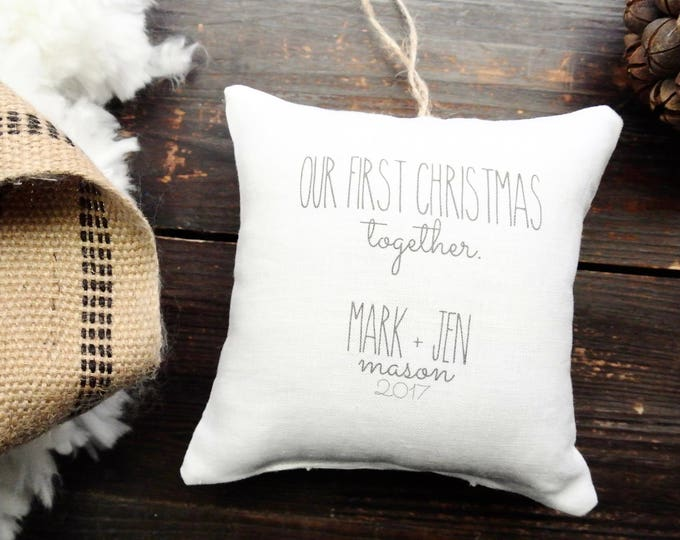 Our First Christmas Ornament, Personalized Christmas ornament, Custom First Christmas ornament, Rustic Christmas, Linen Pillow ornament