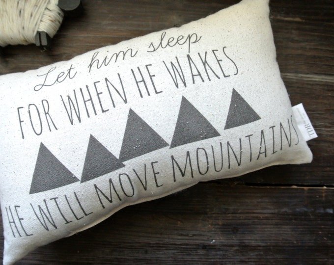 Let Him Sleep For When He Wakes, Personalized Pillow, Baby Shower Gift, Personalized Baby pillow, Nursery Pillow, Nursery Decor, Tribal