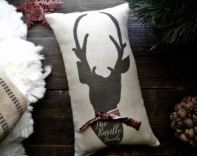 Deer Pillow, Deer Christmas Pillow, Custom Deer Pillow, Personalized Christmas Pillow, Christmas Deer Gift, Family Deer Pillow, Christmas