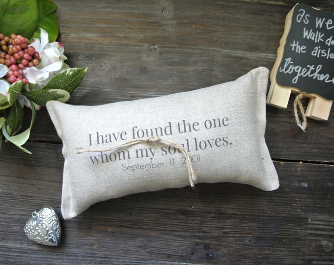 Personalized Wedding Ring Pillow, Personalized Ring Bearer Pillow, Custom Ring Bearer Pillow, Rustic Wedding Ring Pillow, Linen Ring Pillow