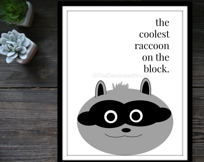 Custom Graphic Print, Black and White Print, Raccoon Print, Racoon Print,  Printable Nursery Art, Modern Nursery Decor, Printable Art