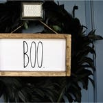 Halloween Rustic Decor, Boo Sign, Custom Door sign, Personalized Sign, wood sign frame, Rustic Decor, Rustic Frame, Halloween door sign