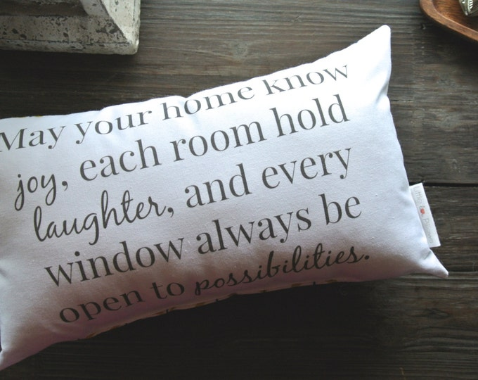 May Your Home know Joy Quote, Little Love Pillow, Favorite Quote, Home Warming Gift, Wedding Gift, Home Decor, Pillow, Closing gift,