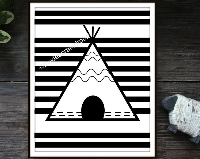 Teepee Printable Art, printable, Instant Download Art, Printable Nursery Art, Striped Printable Art, Nursery Decor, Tribal Printable, Modern
