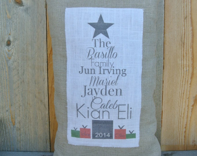 Christmas Pillow, Name Pillow, Family name Gift, Linen Pillow, Personalized Pillow