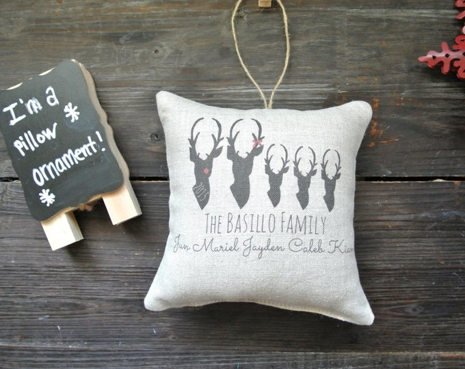 Personalized Ornament, Deer Ornament, Personalized Family Name Ornament, Rustic Christmas, Personalized Pillow Ornament, Personalized Pillow