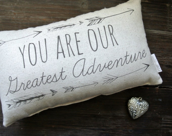 You are our greatest adventure, Personalized Pillow, Baby Shower Gift, Personalized Baby pillow, Nursery Decor, Tribal, baby photo prop