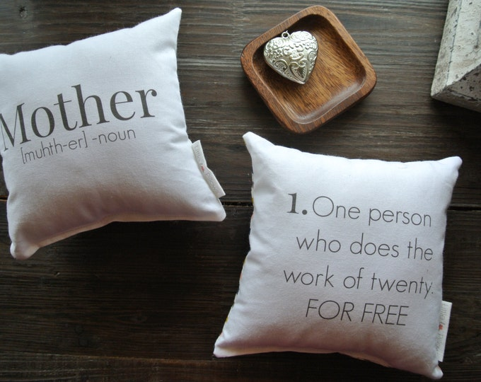 Mother Quote Mini Pillow set, Little Love Pillow, Favorite quote Pillow, Gift Idea, Display pillow, Cotton Pillow, Mother's Day Gift,