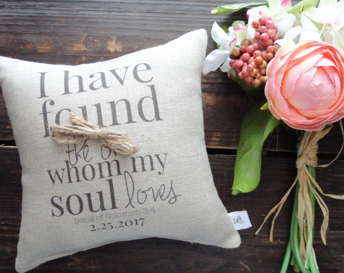 Ring Pillow, Song of Solomon, Custom Ring Pillow, Ring Bearer pillow, Personalized Ring Pillow, Rustic Wedding, Linen Ring Pillow, classic