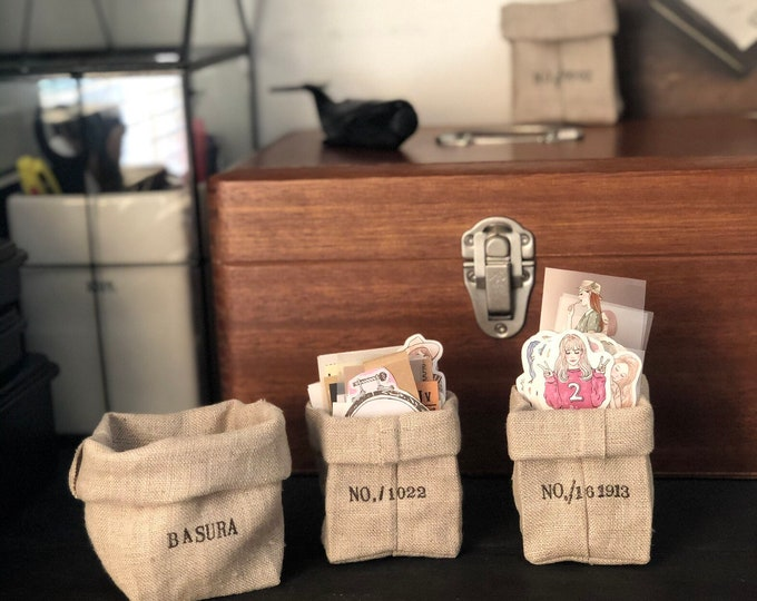 Tiny Linen Paper bags, Tiny desktop bin, fabric trash bin, stationary display, tiny desktop, stationary organizer, sticker organizer, linen