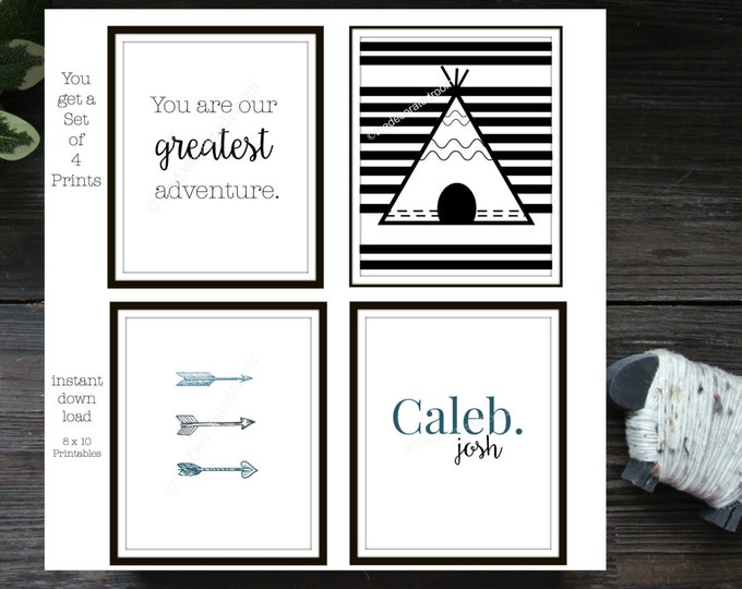 Printable, Set of 4 Printable Nursery Art, Teepee Printable Art, Personalized Printable Art, Nursery Decor, Tribal Printable, wall art, 8x10
