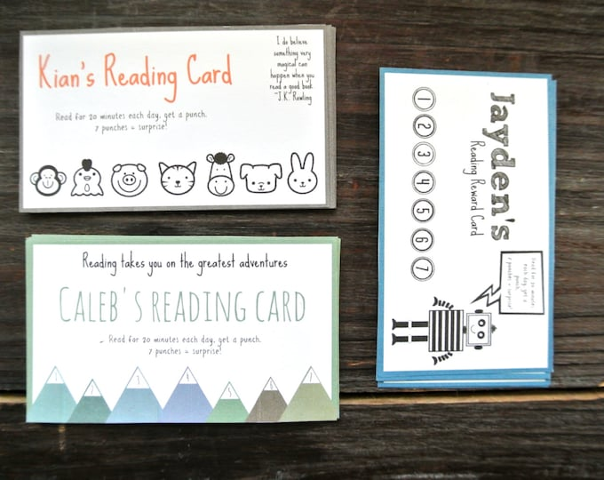 Reward Punch Cards, set of 18 Reading Reward Punch Cards, Reward Punch Cards, Reading Reward System, Reading Chart Cards, Custom Punch Cards