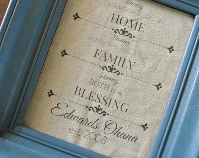 Personalized Print, Family Quote print, Linen Graphic Print, Family Saying, Last Name print, Wedding Gift, Anniversary Gift, Rustic Decor