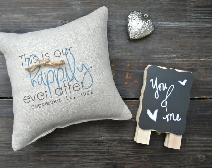 This is Our Happily Ever After, Personalized Ring Bearer Pillow, Ring Bearer Pillow, Personalized Ring Holder, Rustic Wedding, Ring Pillow