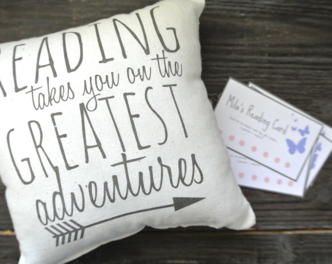Reading Reward System, Reading Pillow, Reading Quote Pillow, Book Pillow, Reading Reward Card, Teach Kids to Read, Reading Cards, Mini
