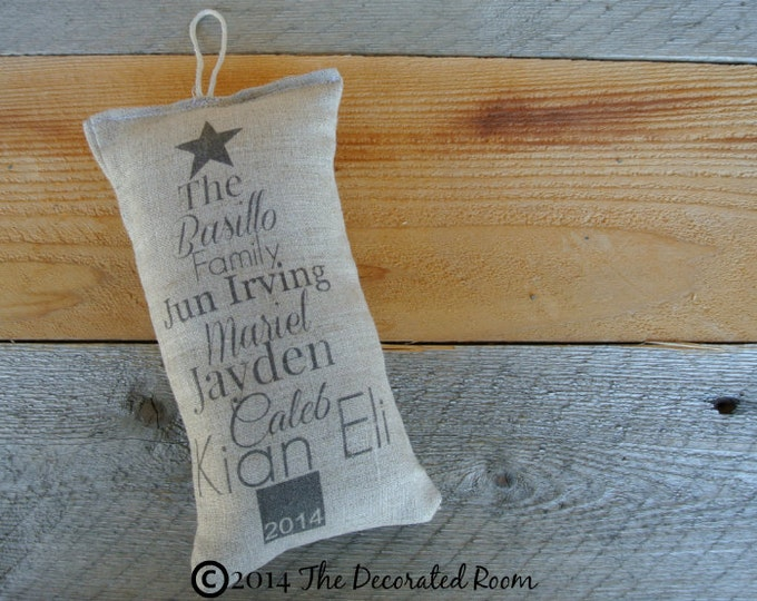 Christmas Ornament, Name Pillow Ornament, Family name Gift, Linen Pillow, Personalized Pillow