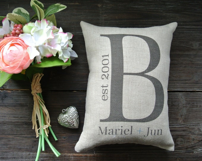 Monogram Pillow, Wedding Day Pillow, Name Date Pillow, shower gift pillow, Personalized Pillow, Couples, Anniversary pillow, Rustic Decor
