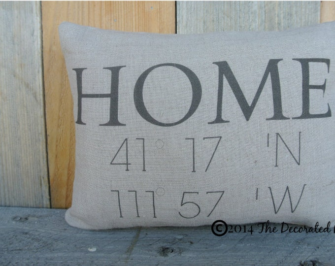 Custom Pillow, Personalized Pillow, Home address, longitude and latitude coordinates, Linen Pillow, House warming Gift, Home Pillow, Linen