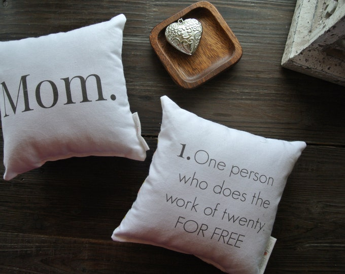 Mom Quote Mini Pillow set, Little Love Pillow, Favorite quote Pillow, Gift Idea, Display pillow, Cotton Pillow, Mother's Day Gift,