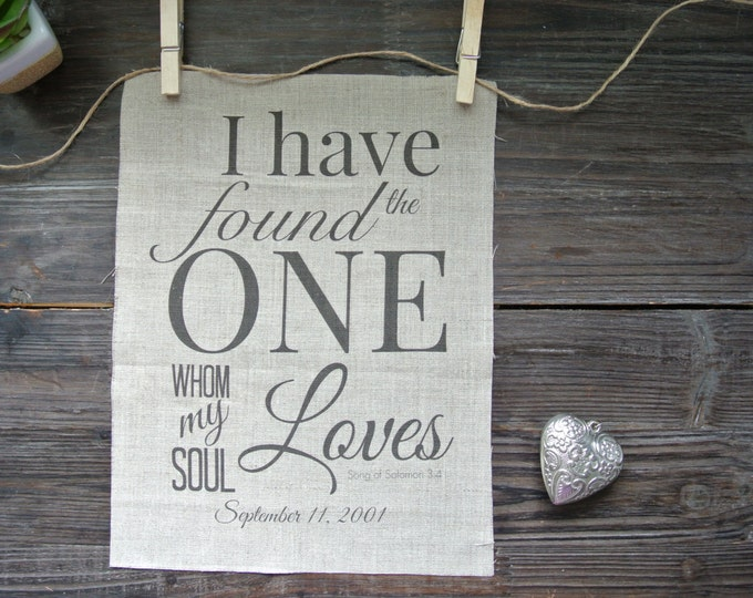 Personalized Print, Song of Solomon 3:4, Rustic wedding, Anniversary Print, Linen Print, 2nd Anniversary Gift, Wedding shower gift, Linen