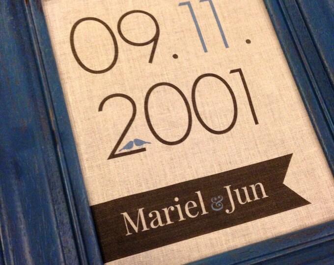 Personalized Print, Rustic Wedding Print, Linen Graphic Print, Date Print, Anniversary Graphic Print, Couple Print, 2nd anniversary, Linen