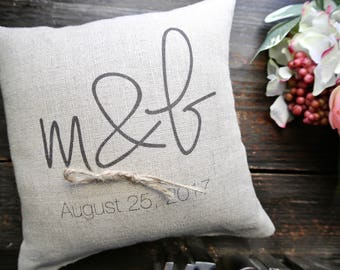 RIng Pillow, Personalized Ring Bearer Pillow, Custom Ring Bearer Pillow, Personalized Ring Holder Pillow, Rustic Wedding Ring Pillow,