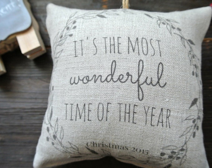 Christmas Quote Ornament, Custom Ornament Collection, Rustic Christmas, Personalized Ornament, Pillow Ornament, Personalized Pillow